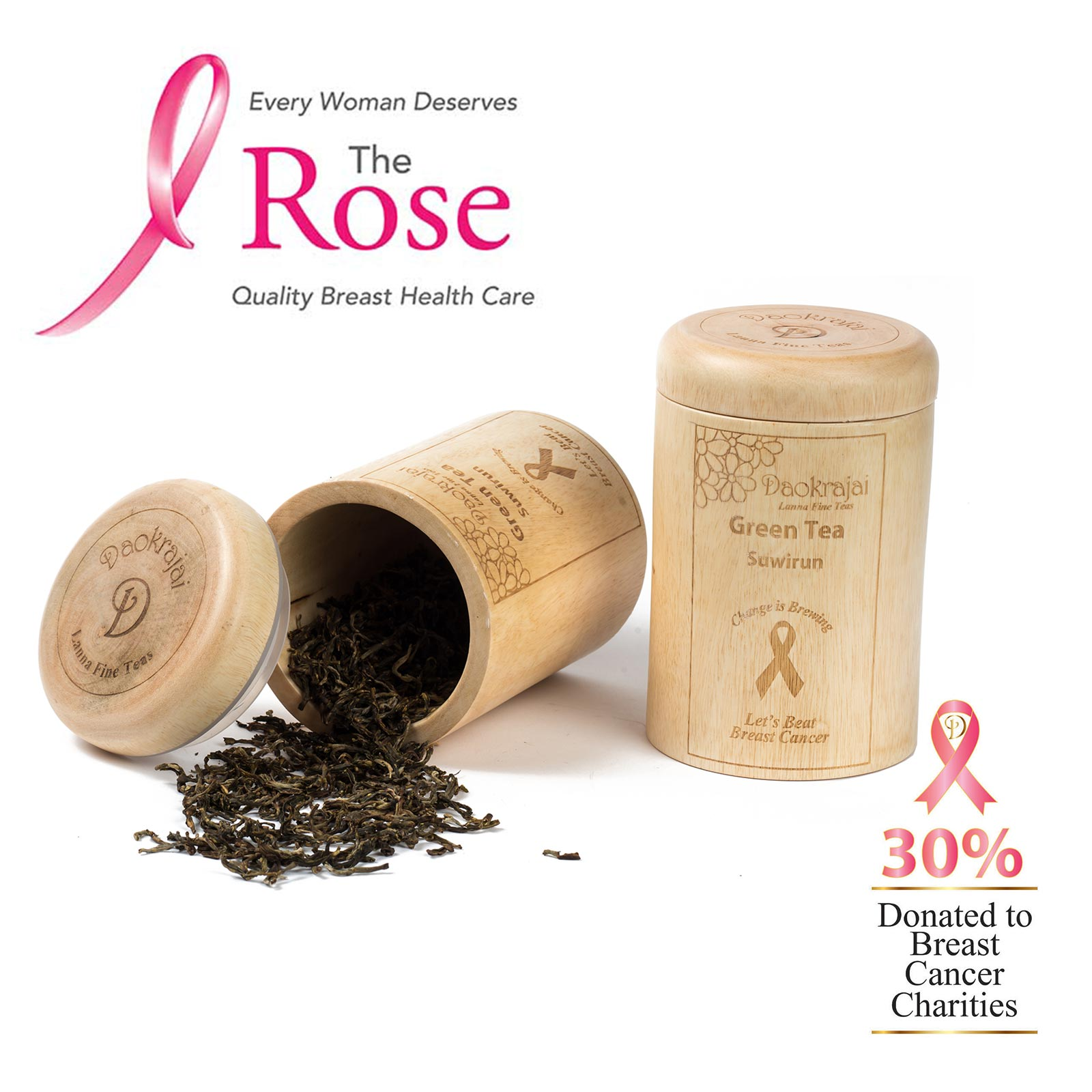 Green Tea Suwirun Caddy supporting The Rose Breast Cancer Charity