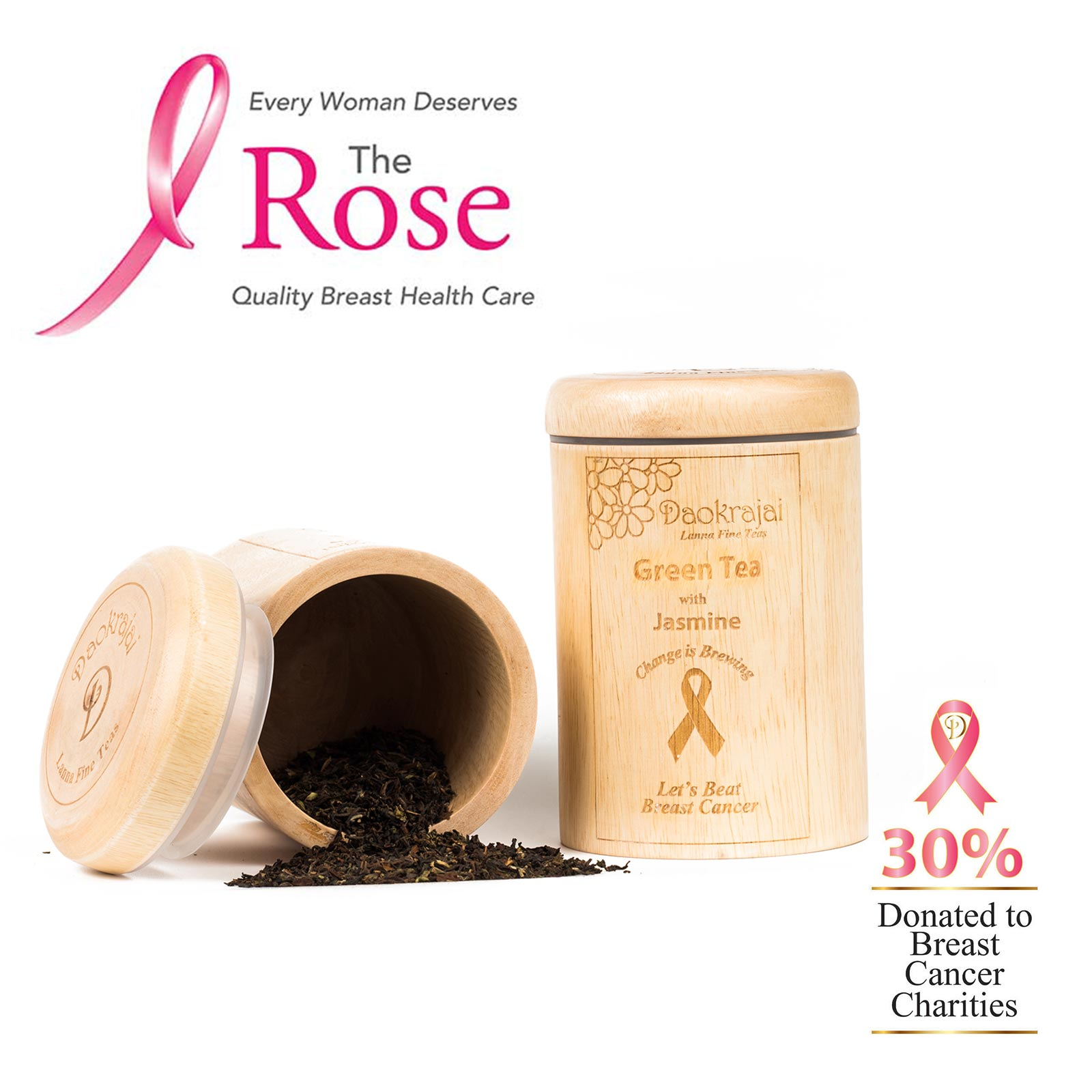Green Tea with Jasmine Caddy supporting The Rose Breast Cancer Charity