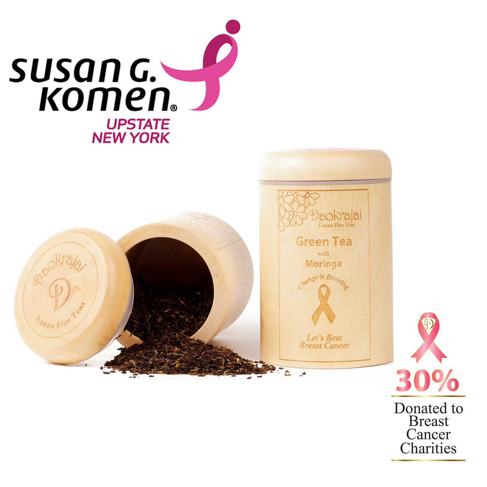 Green Tea Moringa Caddy supporting Susan G. Komen New York Breast Cancer Charity