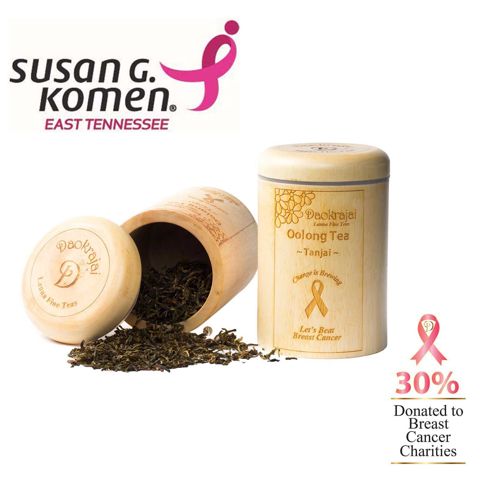 Oolong Tea Tanjai Caddy Supporting the Susan G. Komen East Tennessee cancer charity